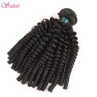renk remi saç uzatma kıvırcık toptan satış-Satai Afro Kinky Kıvırcık Saç Insan Saç Demetleri Perulu Uzatma 8-26 Inç Doğal Renk 100% Remy 1 Adet Ücretsiz Kargo