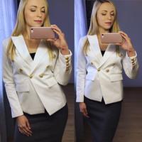 novos padrões blazers venda por atacado-Novo com etiqueta Marca B Design das Senhoras Das Senhoras Fêmeas padrão de Espinha De Peixe Jaqueta Double-Breasted Blazer outwear Fivelas de Metal