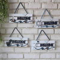Wholesale NEW Europe Pine Wooden Wood Craft Welcome Board Mediterranean Style And Home Decor Anchor Nautical Wood