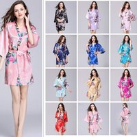 Wholesale wedding robes for sale - 11 Colors Silk Satin Floral Robe Women Kimono Short Sleepwear Print Wedding Bride Bridesmaid Silk stain Floral Bathrobe AAA409
