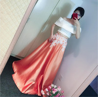 Wholesale Two Tone Formal Dresses - Two Pieces Prom Dresses two Tone 2018 Fashion Lace Appliques Soft Satin Elegant Formal Evening Gowns Nightwear Vestido De festa Real