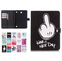 Wholesale ipad cats case cover online – custom Black Finger Cat Flower PU Leather Stand Wallet Flip Card Slots Covers case for Samsung Tablet T230 T530 T550 T560 T350 T580