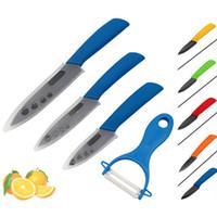 "Wholesale zirconia knife blade - Brand Top quality Zirconia black blade 3"" 4"" 5"" inch + Peeler + covers ceramic knife set kitchen fruit knife set"