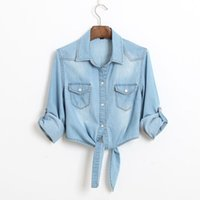 Wholesale blue denim blouse - 2018 Hot Sale New Summer Casual Cropped Sleeves Women Shirt Female Denim Shirts Women'S Fashion Short Blouse Girls Slim Top