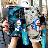Wholesale iphone cases doraemon online - For iPhone XR Doraemon case Cute Japan Cartoon Soft case For iPhone XS Max X plus plus S P cover toy stander Strap