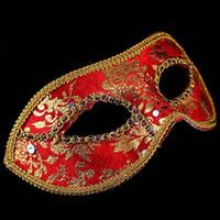 Wholesale venetian prince resale online - Prince Lace Sequin Venetian Masks Adult Women Masquerade Half Face Mask Dress Party Decor Christmas Navidad New Year ZA5935