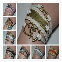 Wholesale one direction wristbands for sale - Group buy AFSHOR New Fashion accessory Infinity One Direction Heart Leather Bracelets Bangles for Women Multilayer Wristband Jewelry Men pulseira