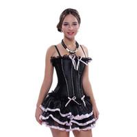 siyah tutu elbise kadınlar toptan satış-Kadınlar Siyah Korse Elbise Seksi Lace up Kemikli Sapanlar Overbust Korseler tutu Etek Artı Boyutu Büstiyer ile Ücretsiz Kargo
