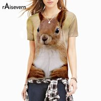 Wholesale dropship clothing women - Raisevern New Cute Animal 3D T Shirt HD Squirrel Printed Summer Tops Women Men Fashion T-shirt Short Sleeve Clothing Dropship