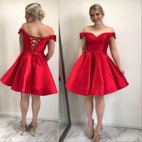 ingrosso fanno il vestito dalla fasciatura-Red Plus Size Short Homecoming Abiti Off The Shoulder Satin Custom Made Bandage Party Dresses Elegant Prom Dresses