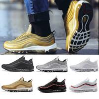 quente novo venda por atacado-with box Nike air max 97 airmax 97 Venda quente Novos Homens correndo Sapatos Almofada 97 KPU Plástico Sapatos de Treinamento Baratos Moda Atacado Tênis Ao Ar Livre EUA 7-12