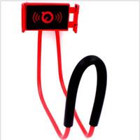 вешалки оптовых-Universel Lazy Neck Hanging Holder Phone Stands Ожерелье для мобильного телефона Поддержка кронштейна 360 градусов вращения 8 цветов для Samsung Iphone