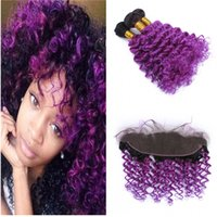 Wholesale two toned purple hair weave for sale - Group buy Two Tone Purple Ombre Human Hair Weaves with Lace Frontal Deep Wave Curly Ombre Full Lace Frontal Closure with Bundles Hair