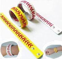 beyzbol moda takı toptan satış-Moda Spor Seamed Deri Bilezik Balıksırtı Beyzbol Softbol Bilek Kayışı Kadın Erkek Bilezik Yapış Takı Parti Dekorasyon GGA739