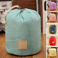 Wholesale Ladies Cosmetics Wholesale - Makeup Bag Pencil Case Barrel Shaped Women Cosmetic Bag waterproof Travel Bags Ladies Organizer Pouch Drawstring Bag 6 Colors OOA4089