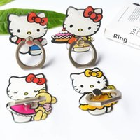 Wholesale huawei cat - Universal 360 Degree Cartoon Finger Ring Holder KT Cat Phone Ring Stand Mount Bracket For iPhone Samsung Huawei