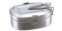 fda bpa al por mayor-Caja de almuerzo de metal de acero inoxidable Contenedor de comida Caja de almuerzo ecológica de doble capa Apto para lavavajillas, sin BPA