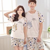 Wholesale couples onesies - Summer Men Pajama Sets Couples Sleepwear Women Pajamas Pijama hombre Masculino Totoro Pyjamas Men's Pajamas Cotton Home Clothing