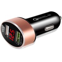 Wholesale voltage iphone online – QC3 Car Charger Adapter Dual USB Ports LED Display Voltage Detector Quick Charge for iPhone X Samsung S9