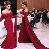 Wholesale Off Shoulder Dress Mermaid Style - Elegant Off Shoulder Red Arabic Style Evening Dresses Formal Wear Gowns 2018 Mermaid Appliques with Long Sleeves Vestidos de festa