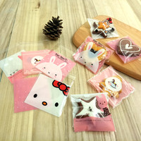 Wholesale Kids Party Paper Bags - 100 Pcs 10x10cm Merry christmas candy Cookies Bags OPP self-adhesive bags Plastic gift bag Wedding home party Food packaging kids birthday