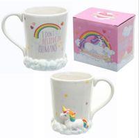 Wholesale Kawaii Mugs - 3D Unicorn Cups Kawaii Horse Mugs Ceramic Cup Water Bottles Coffee Mugs Milk Mugs Tea Cups OOA3957