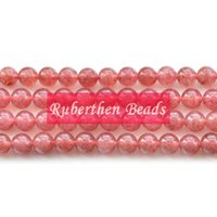 Wholesale NB0083 Trendy Natural Stone Strawberry Crystal Loose Beads Stone Round Bead Best Jewelry Making Accessory