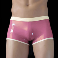Wholesale Latex Male Underwear - new Hot men male white spliced customize szie color handmade latex underwear tight zentai shorts pants lingerie