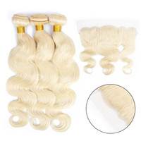 Wholesale platinum blonde remy hair weave resale online - Kisshairfashion Color Platinum Blonde Bundles with Ear to Ear Lace Frontal Indian Body Wave Straight Remy Human Hair Weave