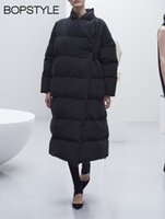 ingrosso giacche invernali extra lunghe-Top Quality 2018 New White Duck Down Bondy Down Coat - Bopstyle Women / Ladies Winter Warmer Cappotto oversize stile extra lungo