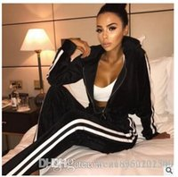 Wholesale green stripe long sleeves sweater - 2017 winter trade explosion velvet pantsuit warm sweater stripes zipper manufacturers wholesale and retail