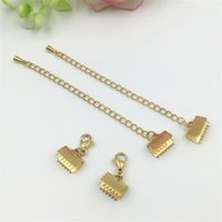Wholesale Ends Buckle Cap - 50pcs lot stainless steel clasps Ribbon Cord End Clamps Cap Crimps Beads Clips Buckle Fasteners Clasps gold Tone Findings