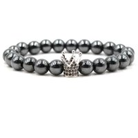 Wholesale silver gun charm bracelet resale online - Zircon Bracelet Crown Charm Bead Bracelet Men Black Gun Silver Gold Color Women Luxury Jewelry Men Jewelry Natural Stone Bracelet