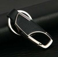 schwarze metallringe briefe groihandel-Einfaches Leder und Metalllegierung Schnalle Männer Black Car Keychain Key Ring