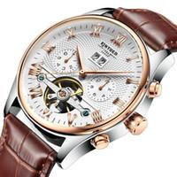 wasserdichte box porzellan großhandel-Herren wasserdicht Schweizer Automatik Tag / Monat Tourbillon mechanische Uhr mit Geschenkbox China Mode Gold Uhren Echtes Leder Gürtel Handgelenk