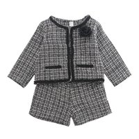 Wholesale outfits sets outwear for sale - Group buy Baby girls plaid outfits children rose long sleeve lattice cardigan outwear shorts set lady style Autumn kids Clothing Sets C5378