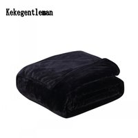 Wholesale flannel sheets full - Black Color Flannel Blanket Birthday Present Blanket Super Soft Winter Warm On Sofa Bed  Travel Bedspreads Sheets 200X230cm