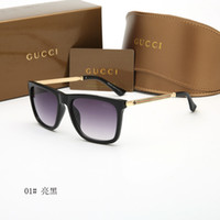 Wholesale wayfarer sunglasses - Fashion Luxury Sunglasses Newest Brand Designer Metal Square Sun glasses Men Women Sunglasses wayfarer sunglasses with case and box
