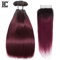 Wholesale 1b 99j - 1b 99j Ombre Human Hair Bundles with Closure Peruvian Straight Hair With Closure Ombre Blonde Human Hair 3 Bundles With Closure 100% Human