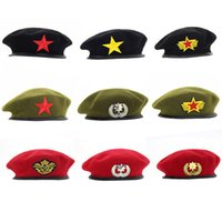 Wholesale peach cosplay resale online - Military Cap men Without Badge Solider Army Hat Man Woman Wool Vintage Beret Beanies Caps Winter Warm Hat Cosplay Hats for Woman