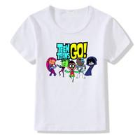 модная одежда оптовых-Детская мода мультфильм Teen Titans Go костюмы футболки дети симпатичные одежда мальчики девочки лето повседневная топы тройники