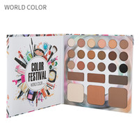многоцветный тени для век комплект оптовых-WORLD COLOR 24 Colors Eyeshadow  Set Palette Eyebrow  High Gloss  Repair  Combination Multi-function Set