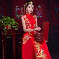 Wholesale traditional sexy chinese women - Overseas Chinese Kimono Shanghai Story Vintage Cheongsam Wedding Chinese Dress Suzhou Embroidery Long Qipao Women Sexy Traditional Cheongsam