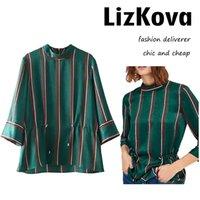 Wholesale Peplum Top Xs - Women Peplum Waist Blouse Mock Neck Three Quarter Sleeve Blouse Green Striped Shirt Back Zipper Tops Casual Office Shirt