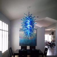 Wholesale vintage italian chandelier for sale - Group buy Latest Blue Art Decor Lighting Italian Designer Blown Chandelier Large Size Pretty Crystal Pendant Lamp for Kitchen Livingroom