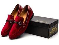 ingrosso scarpe da ginnastica blu camoscio-Alta qualità blu rosso in pelle scamosciata nera uomo mocassini moda slip-on scarpe da guida uomini mocassino barca causale scarpe da uomo scarpe da sposa 38-46