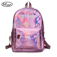 Wholesale harajuku school bags - Moon Wood Harajuku Embroidery Letters Crybaby Hologram Laser Backpack Women Soft PU Leather Backpack School Bags For Girls