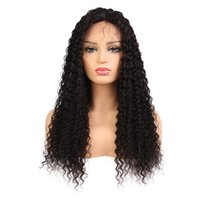 Wholesale natural curly human hair wigs online - Kinky Curly Lace Front Wig Brazilian Virgin Human Hair Full Lace Wigs for Women Natural Color