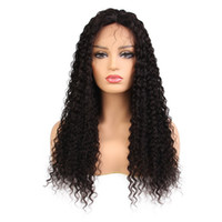 Wholesale curly human hair full lace wigs online - Kinky Curly Lace Front Wig Brazilian Virgin Human Hair Full Lace Wigs for Women Natural Color