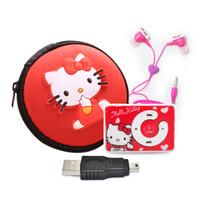 bolsa de auriculares mp3 al por mayor-Cute Cartoon Hello Kitty Reproductor de música MP3 Compatible con microsd TF Card Mini Reproductor de MP3 + Hello Kitty Auriculares + Mini USB + Hello kitty bag
